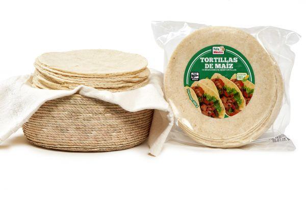 [3 kg Großpackung] Mexikanische Maistortillas aus weißem Maismehl, lang haltbar, Ø 14 cm
