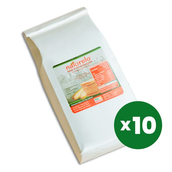 10 kg Naturelo Maismehl für Tortillas, nixtamalisiert (10 x 1 kg)