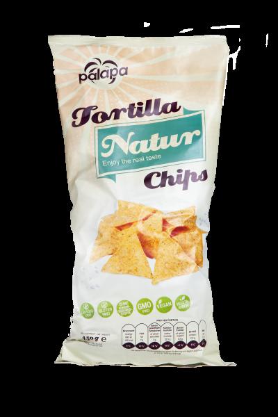 Tortilla de maíz estilo mexicano, con sal de mesa, 450 g - Chips Natur