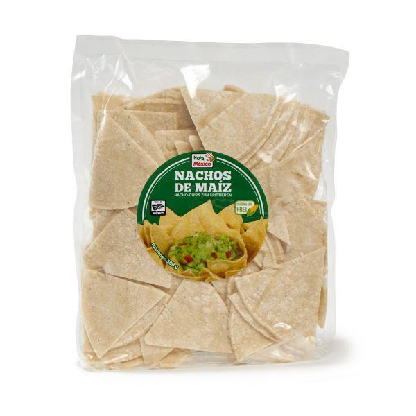Mais-Tortilla-Chips zum Frittieren für Nachos, Totopos, 500 g