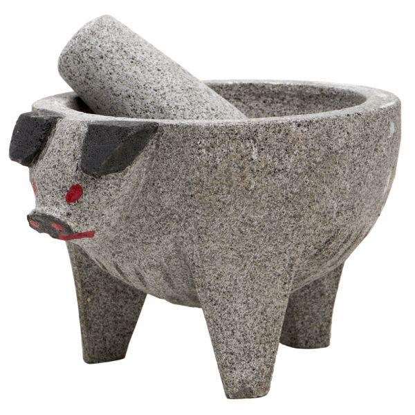 Molcajete Gewürz-Mörser aus Lavastein (ca.18 cm) in Schweineform